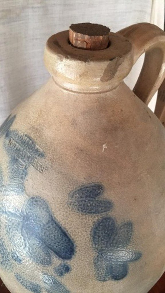 Antique Salt-Glaze Stoneware Folk-Art Blue Jug - 4