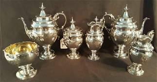Wood  Hughes Rare 6 pc Coin Silver Tea Set