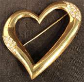 18K Gold  Diamond Heart Pin