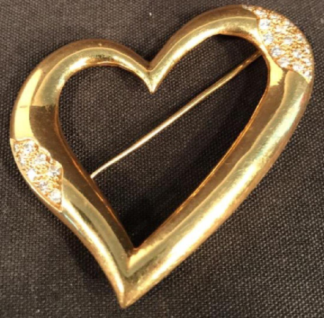18K Gold & Diamond Heart Pin