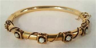 14 K Gold & Opal Bangle Bracelet