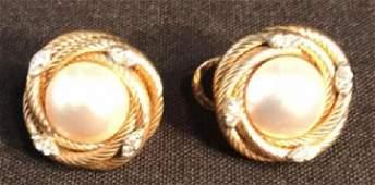Mauve Pearl Diamond  14k Gold Earrings