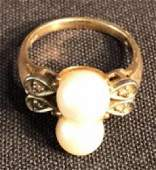 Pearl & Diamond Cocktail Ring - 14K Gold