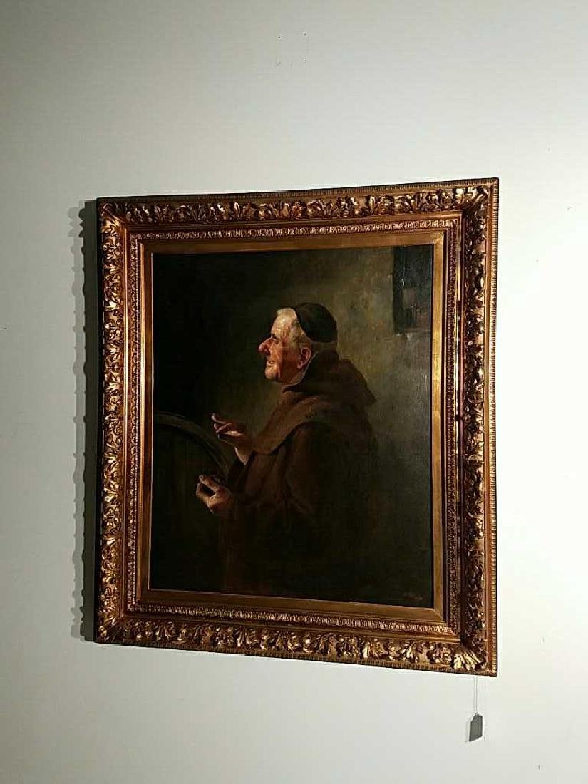 Antique Oil Painting on Canvas Monk w/ Snuff