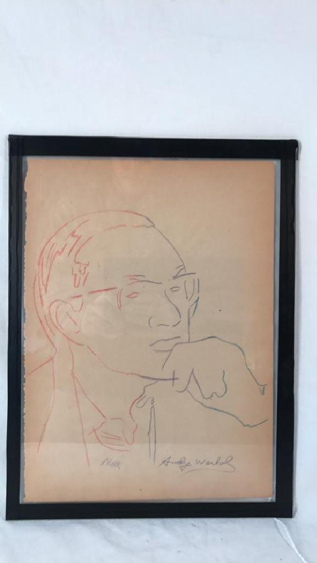 "Original Andy Warhol Signed Drawing ""Max Bill"""