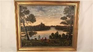 Antique Folk Art Oil Painting Landscape w/Indians