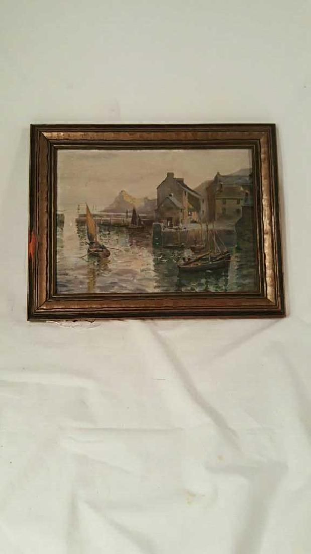 Antique Oil Painting on A/B - Harbor Scene