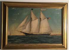 "Antique Painting Ship Portrait Signed ""Stubbs"""