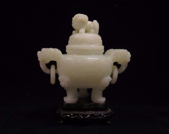 A Carved White Jade Tripod Censer And Cover