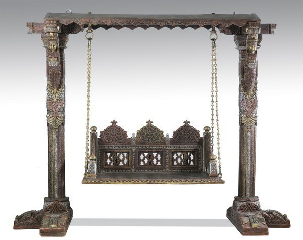 Indian Imperial Burmese carved garden swing