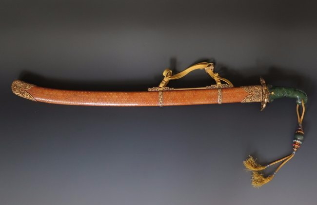 Very Rare Chinese Imperial Sword with Green Jade Handle