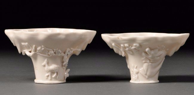 Two Blanc-de-Chine Libation Cups, China, Qing Dynasty