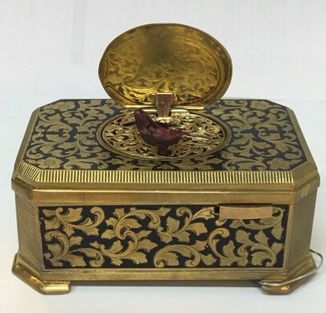 Gilt And Enamel Music Box With Singing Bird