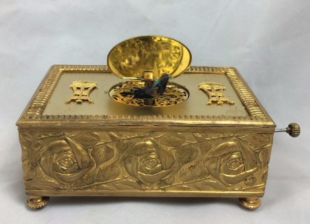 Gold Gilt Music Box with Singing Bird