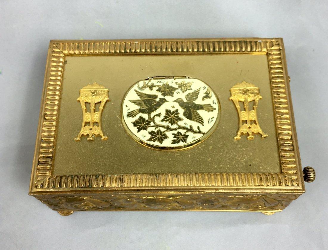 Gold Gilt Music Box with Singing Bird - 2