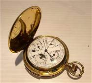 18k Yellow Gold Chronograph Pocket Watch
