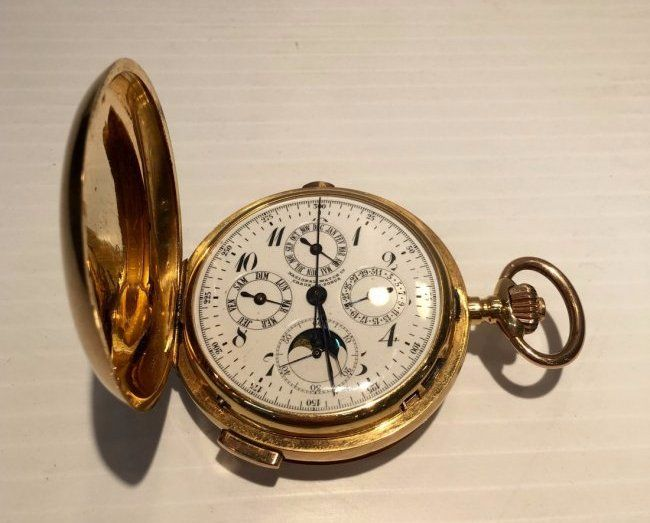 18K Quarter Reapter Moon Phase Chronograph pocket watch