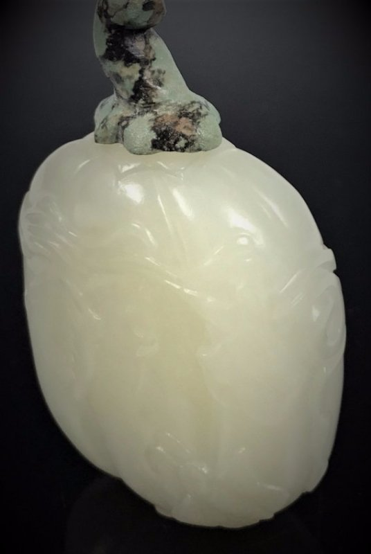 Chinese Carved White Jade Snuff Bottle - 5