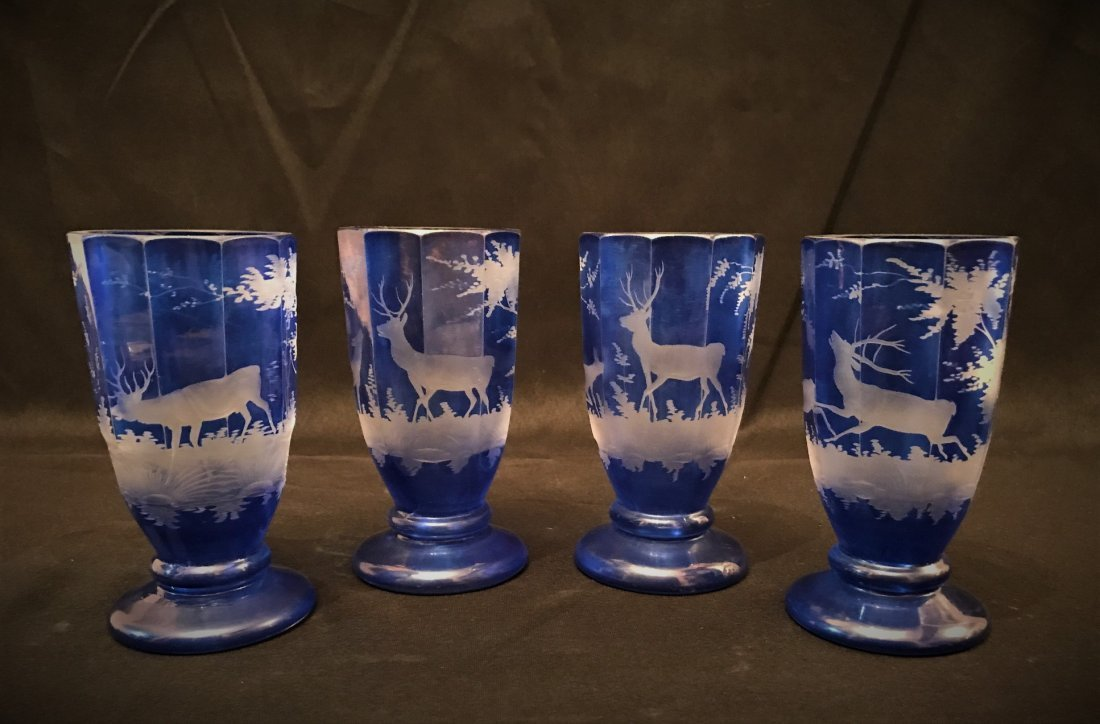 Four Of Bohemian Blue Glass Cups