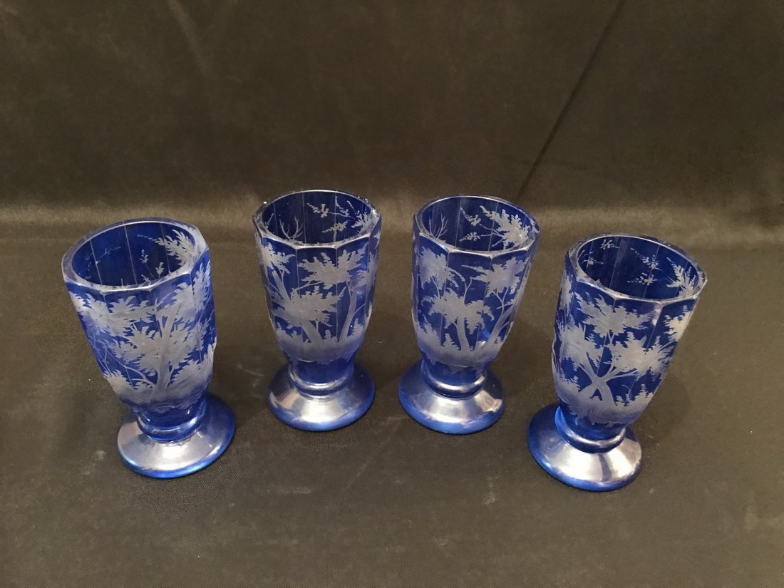 Four Of Bohemian Blue Glass Cups - 3