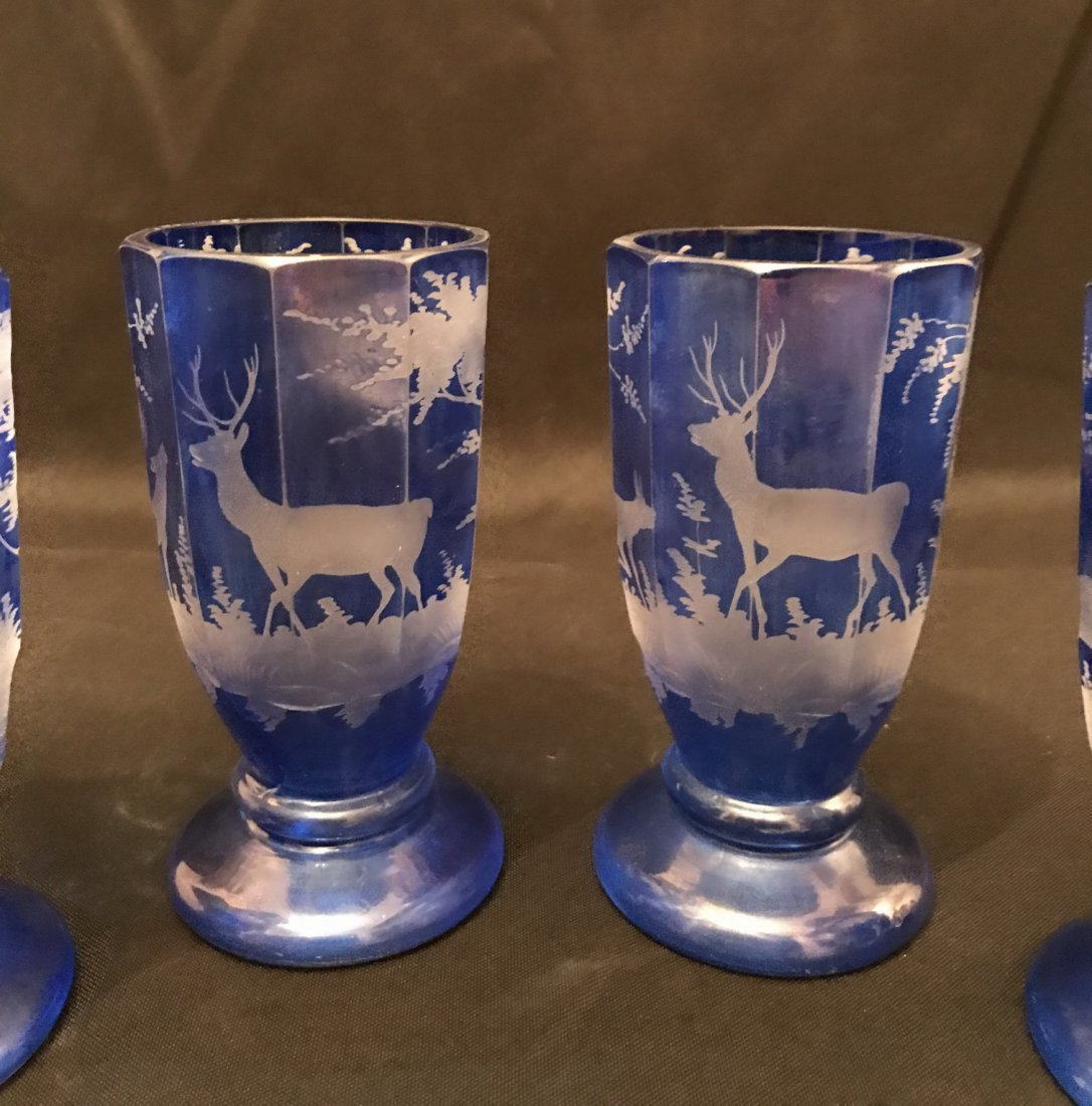 Four Of Bohemian Blue Glass Cups - 4