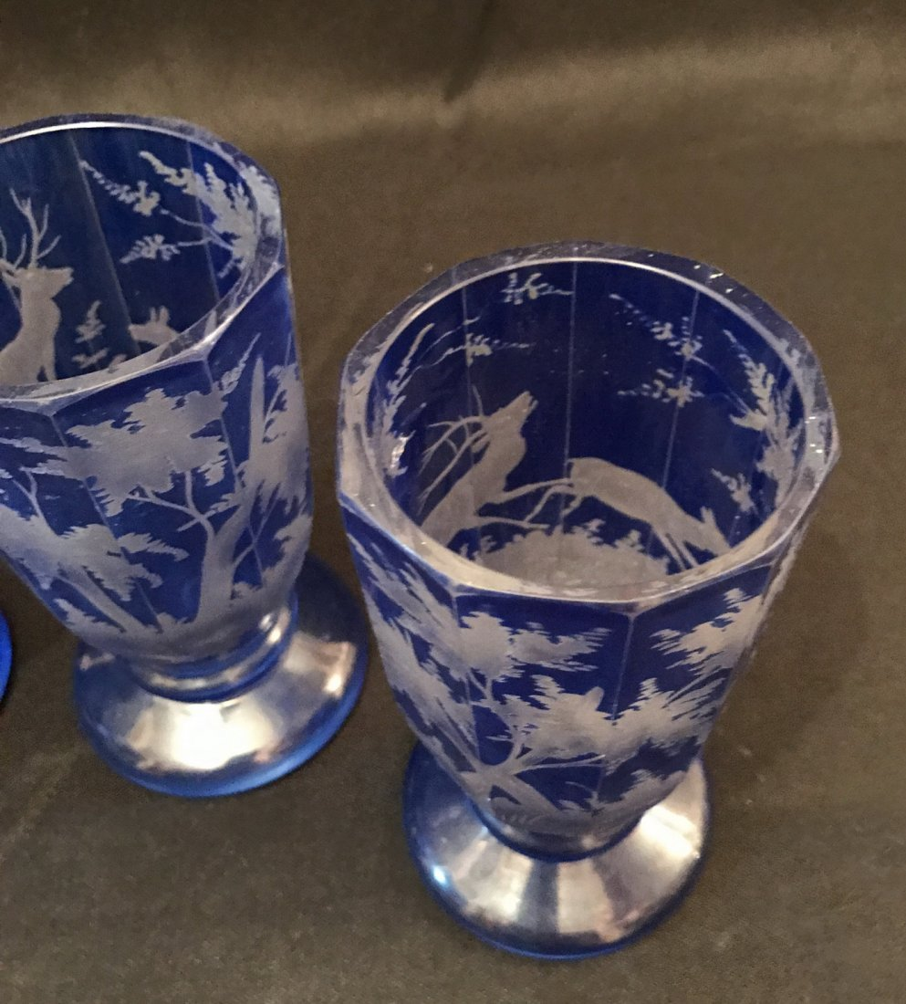 Four Of Bohemian Blue Glass Cups - 5