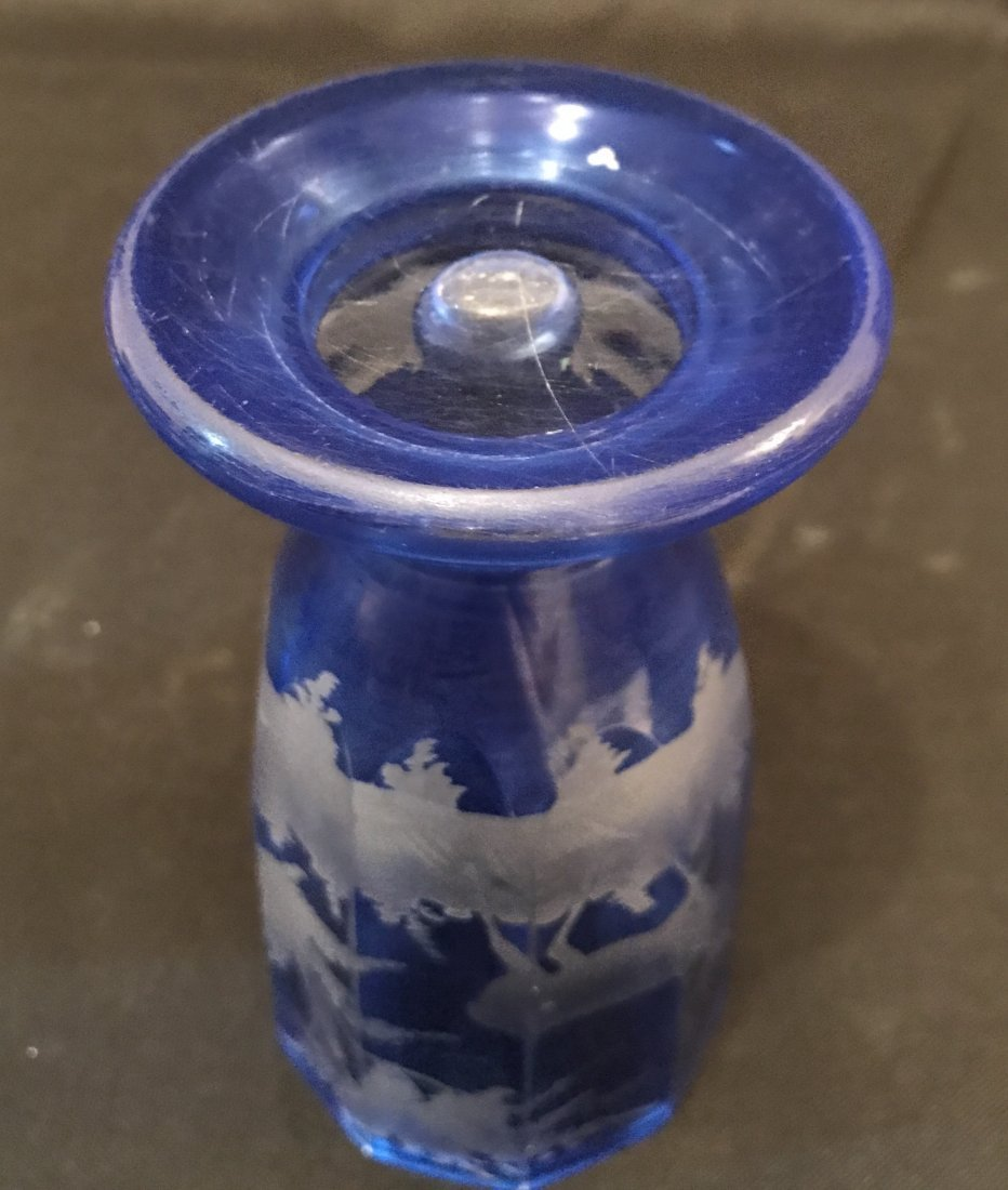 Four Of Bohemian Blue Glass Cups - 9