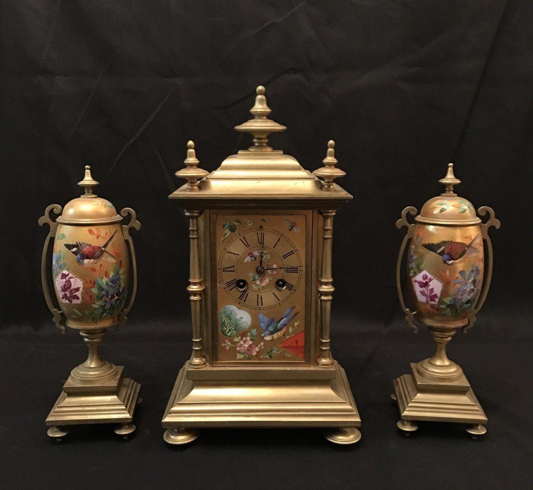 A Set Of Emamel Gilt French Clock