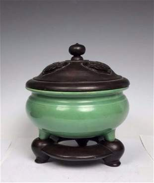 Chinese Green Glazed Censer With Base,18/19th C.