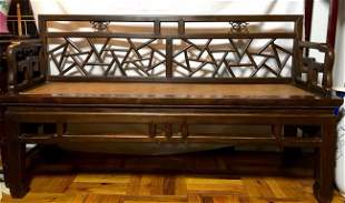 Chinese Carved Wood Bench