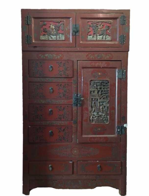Antique Chinese Red Lacquer Carved Cabinet