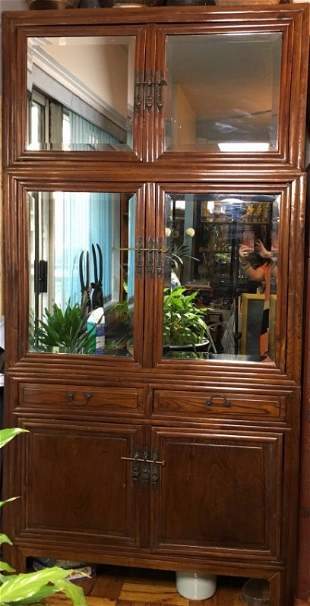 Very Large Wood Cabinet with Mirrored Doors and Draws