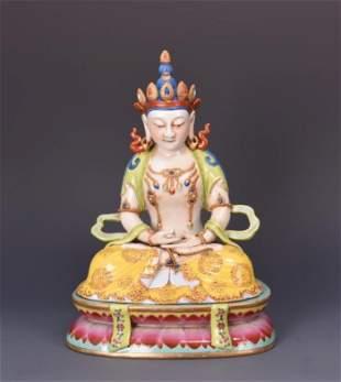 Famille Rose And Gilt -Inlaid Figure Of AMITAYUS Buddha