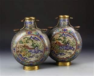 A Rare Pair Of Cloisonne Enamel Moon Vases