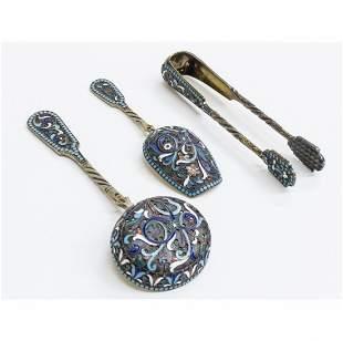 Russian Silver-Gilt And Cloisonné Enamel Tablewares