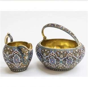 Russian Silver-Gilt And Cloisonné Enamel Set