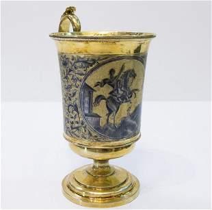 Russian Silver-Gilt & Niello Cup