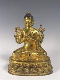 A Large Heavy Gilt Bronze Seated Buddha