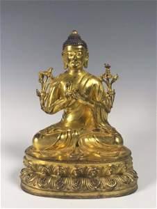 A Large Heavy Gilt Bronze Seated Buddha