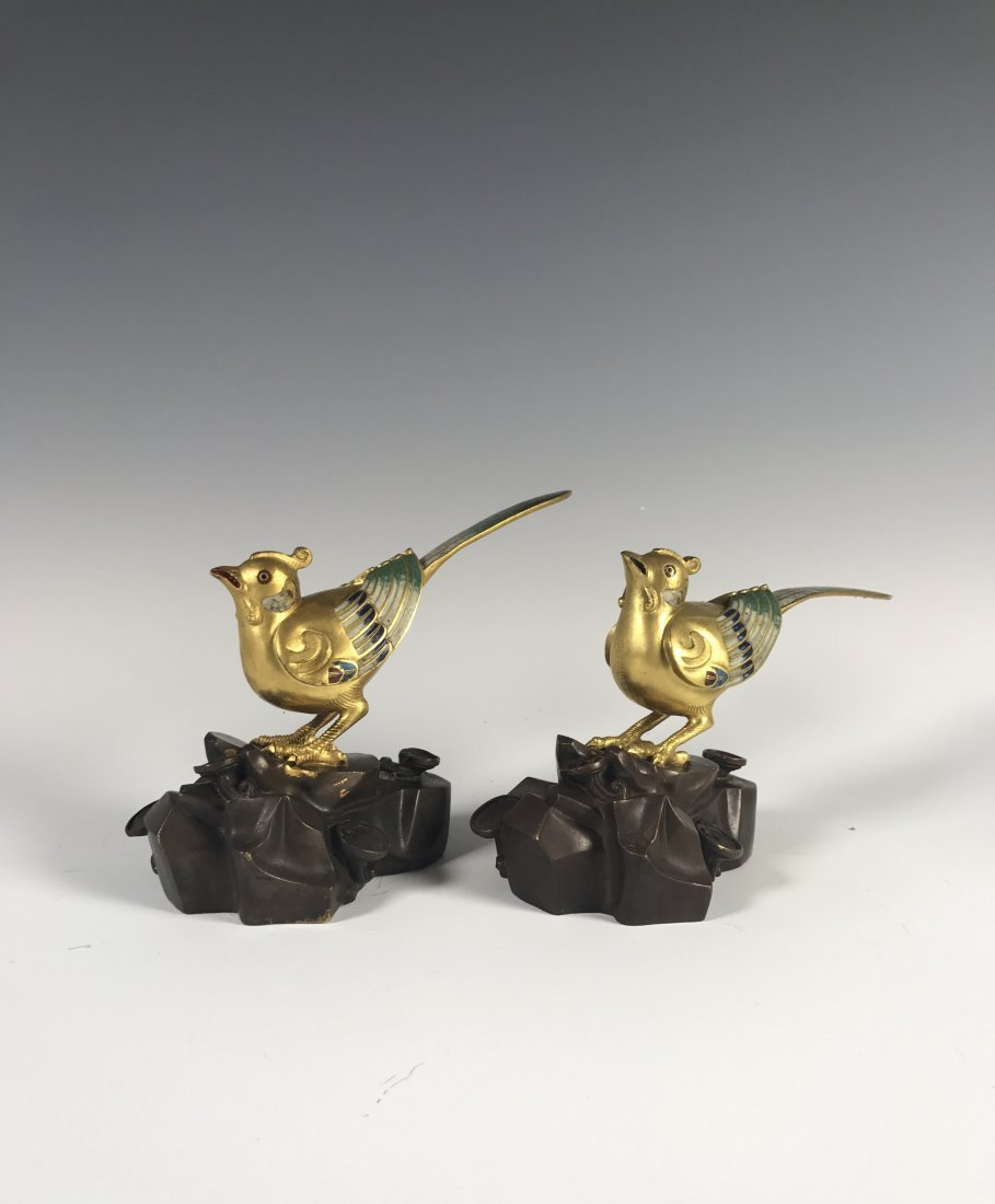 A Pair of Chinese Gilt Bronze Birds With QianLong Mark