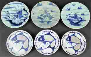 Set of Six Blue and White Porcelain Dishes with Mark