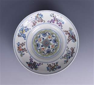Famille Rose Flowers Plate with Mark
