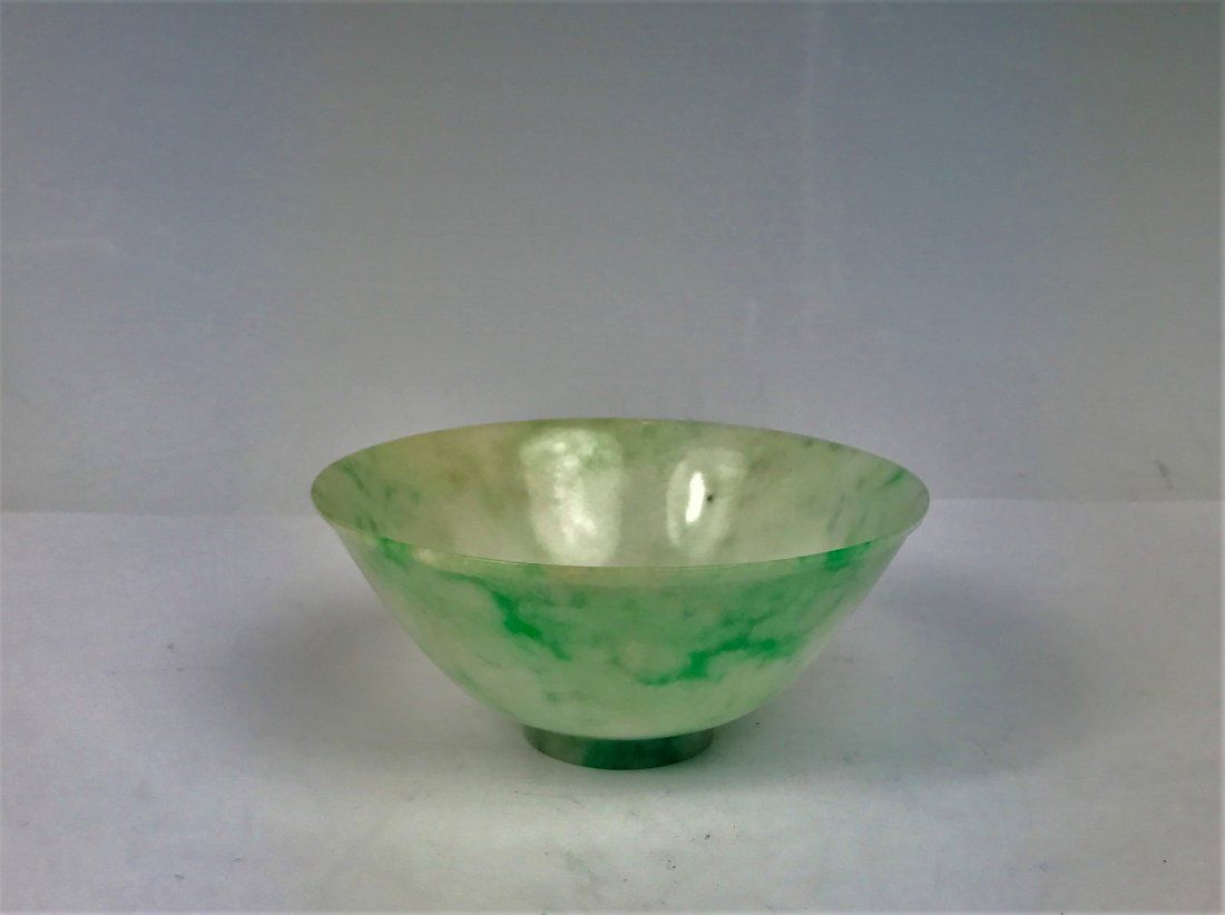 A Fine Chinese Jadeite Jade Carving of A Bowl