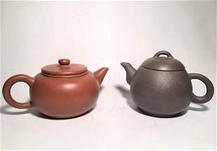 Pair Of Chinese Zisha Tea Pots