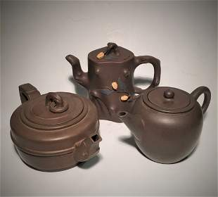 Three Small Yixing Teapots With Mark