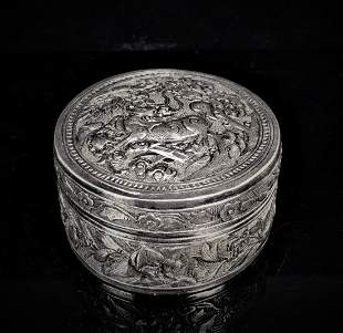 Small Chinese Carved Silver Box
