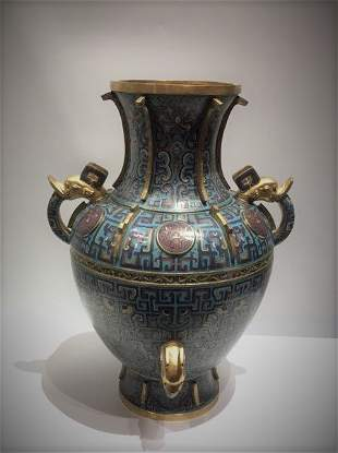 A Cloisonne Enamel Vase With Two Handle And Mark