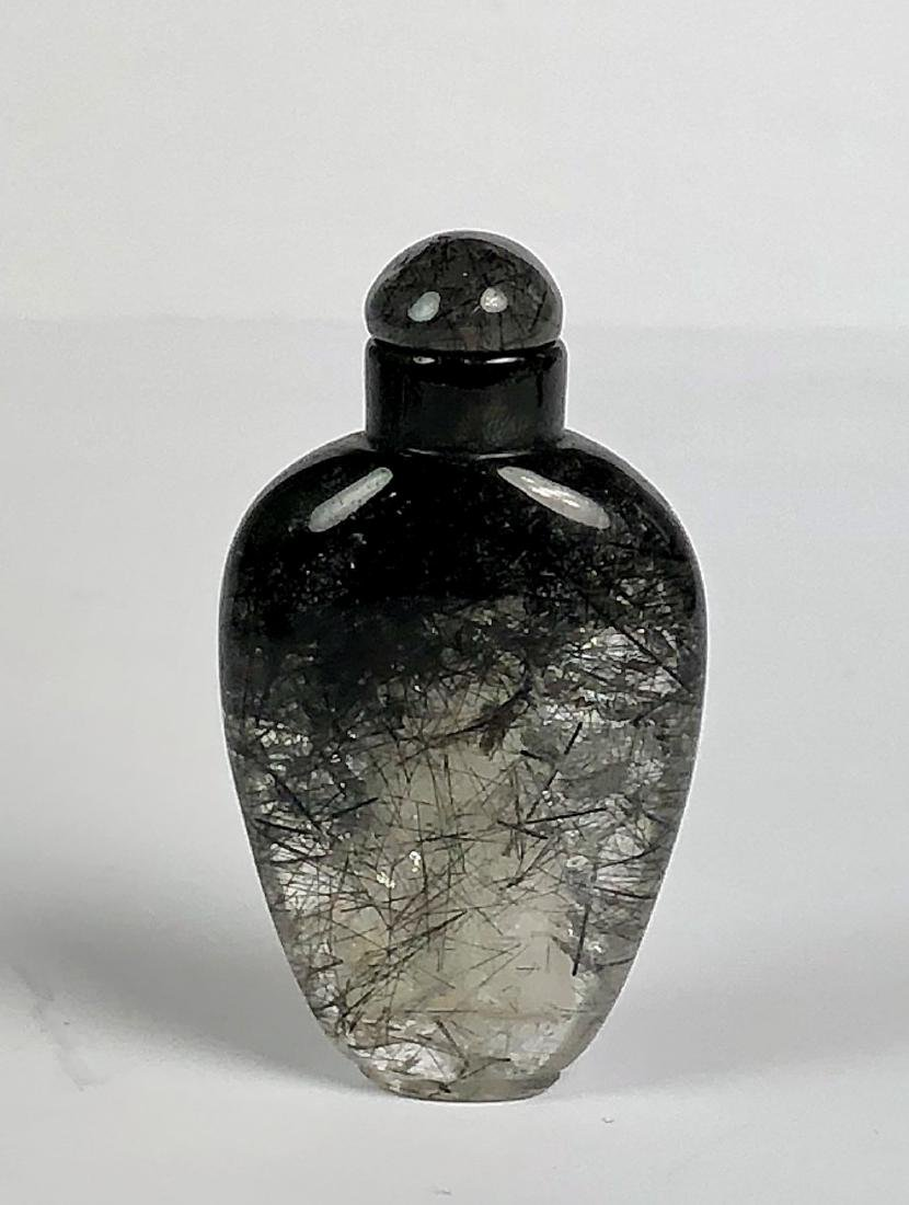 Etched Black Crystal Snuff Bottle