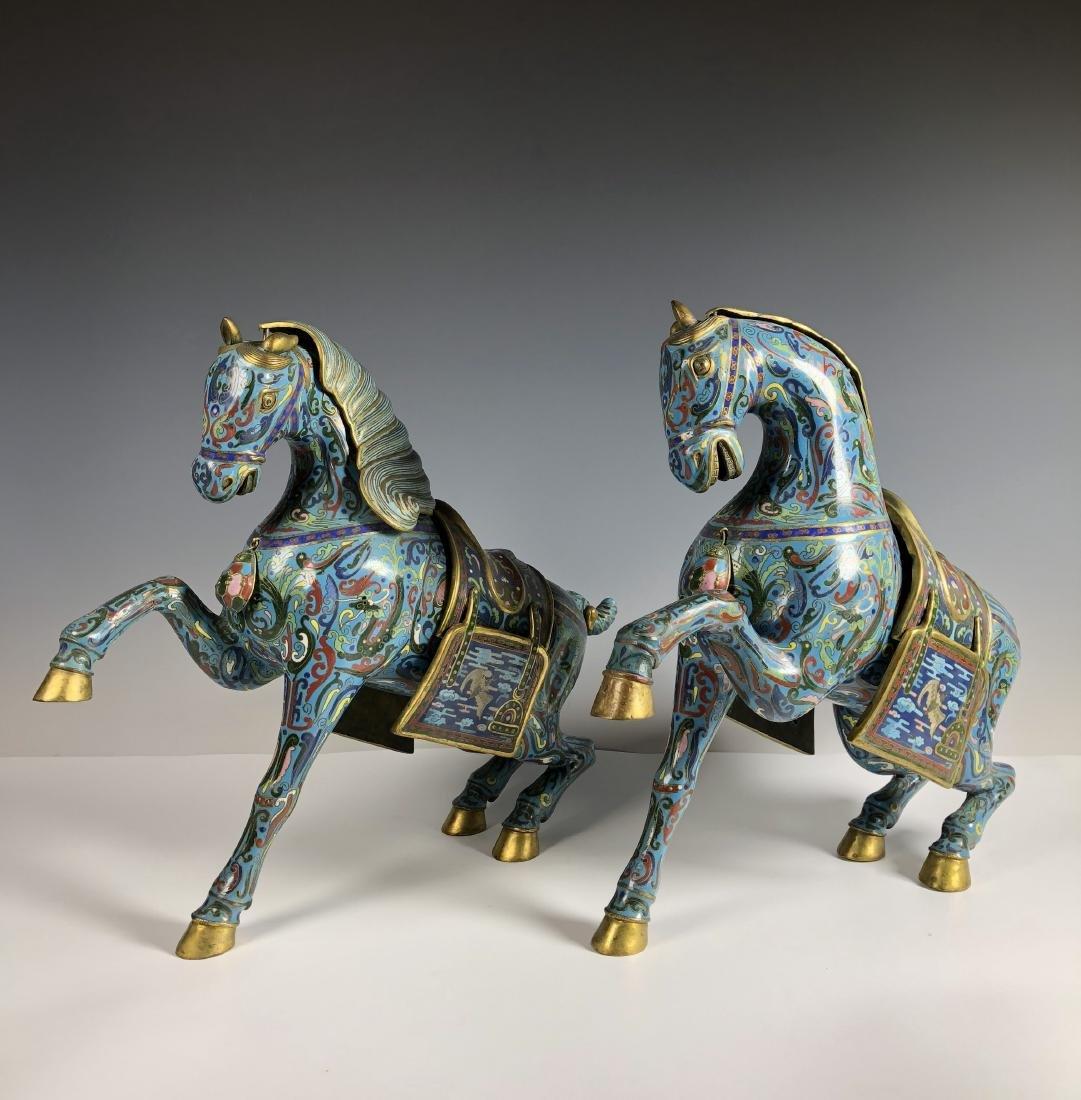 Pair of Cloisonne Enamel Horses