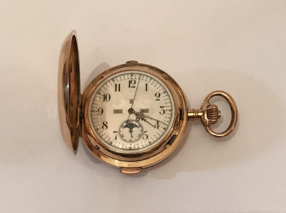 14k Moon Phase Repeated Quarter Pocket Watch